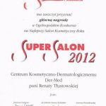 2012 Główna Nagroda w Ogólnopolskim Konkursie na Najlepszy Salon Kosmetyczny Roku 2012