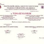 lek. med. estetycznej Tomasz Hanslik- dyplom  Podyplomowej Szkoły Medycyny Estetycznej Polskiego Towarzystwa Lekarskiego
