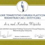 2011 Certyfikat potwierdzający członkostwo w Polskim Towarzystwie Chirurgii Plastycznej, Rekonstrukcyjnej i Estetycznej