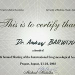 2002 Certyfikat uczestnictwa