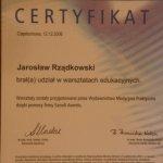 2006 Certyfikat uczestnictwa w warsztatach edukacyjnych