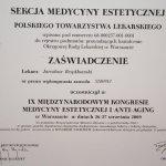 2009 Certyfikat uczestnictwa w IX Międzynarodowym Kongresie Medycyny Estetycznej i Anti-Aging