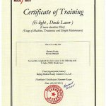2015 Certificate of Training (E-Light, Diode Laser) - Dorota Musiał