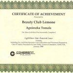 2008 Certyfikat ukończenia szkolenia depilacji laserowej LightSheer