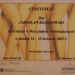 2003 Certyfikat uczestnictwa w Warsztatach Flebologicznych