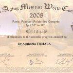 2008 Certyfikat uczestnictwa dr A.Tomali w programie naukowym World Society of Anti-Aging Medicine