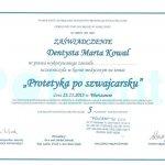 2013 Uczestnictwo w kursie pt.: Protetyka po szwajcarsku