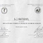 1991 Certyfikat za udział w Środkowoeuropejskim Kursie Chirurgii Estetycznej