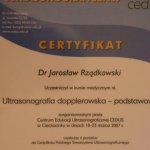 2007 Certyfikat uczestnictwa w kursie medycznym