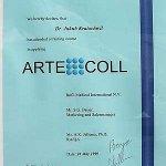 1999 Certyfikat za udział w kursie stosowania Artecoll