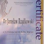 2011 Certyfikat uczestnictwa w Cosmoderm XVII