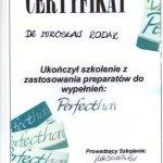 Ukończenie szkolenia z zastosowania preparatów do wypełnień Perfectha