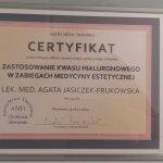2014 Certyfikat zastosowanie kwasu hialuronowego