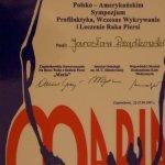1997 Certyfikat uczestnictwa w Polsko - Amerykańskim Sympozjum Profilaktyka, Wczesne Wykrywanie i Leczenie Raka Piersi