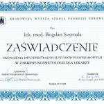 2008 Dr Bogdan Szymala - ukończenie studiów w zakresie kosmetologii dla lekarzy