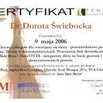 2006 Uczestnictwo w kursie pt.: Peelingi chemiczne Yellow Peel, Alpha Beta Complex, Glycolic Acid Masque 25%, TCA Chelatowe, linia Skin Renu
