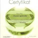 2008 Certyfikat uczestnictwa w teoretycznym i praktycznym szkoleniu z zastosowania pilingów chemicznych laboratorium MEDIDERMA