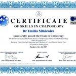 2009 Dr Emilia Sitkiewicz - Certificate of skills in colposcopy
