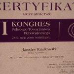 2009 Certyfikat uczestnictwa w VI Kongresie Polskiego Towarzystwa Flebologicznego