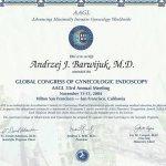2004 Certyfikat uczestnictwa w Światowym Kongresie Endoskopii Ginekologicznej