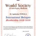 2007 Dyplom potwierdzający przynależność dr A.Tomali do World Society of Anti-Aging Medicine