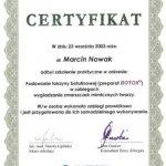 2003 Marcin Nowak - szkolenie praktyczne w zakresie: Podawanie toksyny botulinowej w zabiegach wygładzania zmarszczek mimicznych twarzy