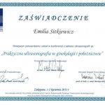 2011 Dr Emilia Sitkiewicz - udział w konferencji z zakresu ultrasonografii