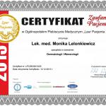 2013 Certyfikat zaufania pacjentów w Ogólnopolskim Plebiscycie Medycznym
