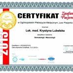 2013 Certyfikat Zaufania Pacjentów: Laur Pacjenta 2013 dla Krystyny Lubelskiej