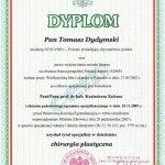 2009 Dyplom uzyskania tytułu specjalisty w dziedzinie chirurgii plastycznej przez dr Dydymskiego.
