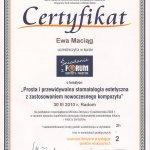 2010 Uczestnictwo w kursie pt.: Prosta i przewidywalna stomatologia estetyczna z zastosowaniem nowoczesnego kompozytu