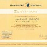 2010 Certyfikat Champions Implants
