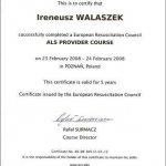 2008 European Resuscitation Council dla Ireneusz Walaszek