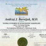 2002 Certyfikat uczestnictwa w Światowym Kongresie Endoskopii Ginekologicznej