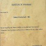2005 Certyfikat za udział w Sympozjum Chirurgia Plastyczna nad Morzem Czerwonym