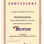 2007 Uczestnictwo w szkoleniu pt.: Podawanie toksyny botulinowej Botox