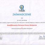 2013 Uczestnictwo w szkoleniu pt.: Kwalifikowana pierwsza pomoc medyczna