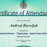 2002 Certyfikat uczestnictwa w Międzynarodowej Konferencji
