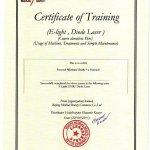 2015 Certificate of Training (E-Light, Diode Laser)
