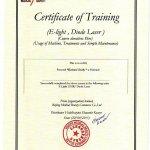 2015 Certificate of Training (E-Light, Diode Laser)