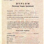 1991 Dyplom specjalisty I stopnia - Ryszard Wilk