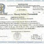 2000 Maciej Charaziński - zezwolenie na wykonywanie indywidualnej specjalistycznej praktyki lekarskiej