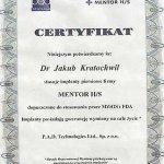 Certyfikat potwierdzający stosowanie implantów piersiowych firmy Mentor H/S