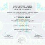 Zaświadczenie o wpisie dr Kłosa do rejestru Grupowych Praktyk Lekarskich