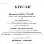 2006 Joanna Pabich-Worożbit - tytuł specjalisty w dziedzinie: położnictwo i ginekologia