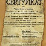 2004 Certyfikat uczestnictwa w zajęciach praktycznych z zakresu: botox w leczeniu nadpotliwości i korekcji zmarszczek, zastosowanie kwasu hialuronowego