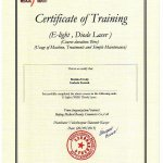 2015 Certificate of Training (E-Light, Diode Laser) - Izabela Stasiak