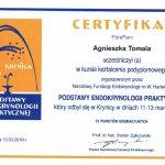2010 Certyfikat uczestnictwa dr A.Tomali w kursie kształcenia podyplomowego