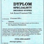 2001 Dyplom specjalisty II stopnia - Ryszard Wilk