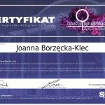 lek. med, Joanna Borzęcka - Klec - certyfikat